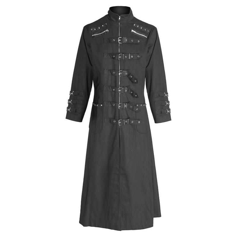 Men Gothic Long Coats with metal rivets and straps