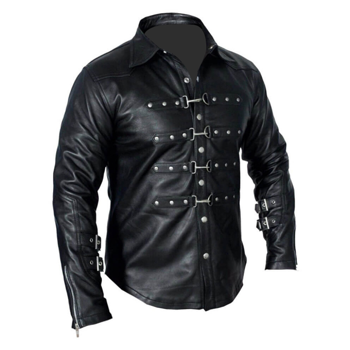 Mens Gothic Leather Police Real Black Shirt