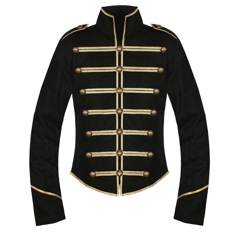 Men Chemical Romance Parade Military Uniforms Jacket Gold and Black Men Halloween Carnival Cosplay Costume
