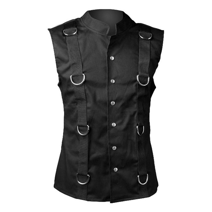 Gothic ring vest black denim by Aderlass