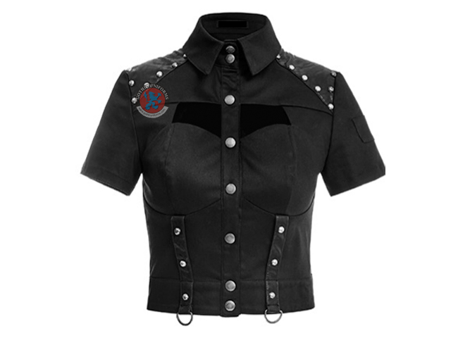 Rivet Studdedd leather matching sexy militry uniforms shirts