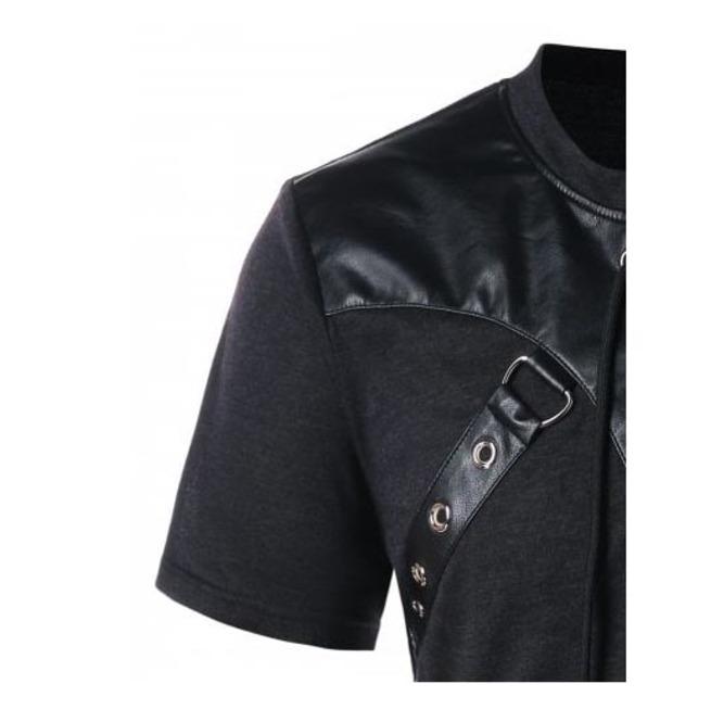 af0bca297b81d Men Black Goth Fetish Bondage Strap Faux Leather Lace Up O Ring T Shirt